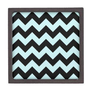 Zigzag I - Black and Pale Blue Premium Jewelry Box