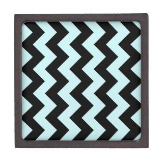 Zigzag I - Black and Pale Blue Premium Trinket Boxes