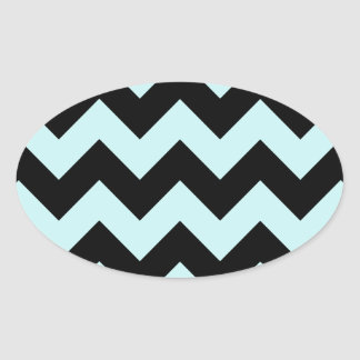 Zigzag I - Black and Pale Blue Oval Sticker