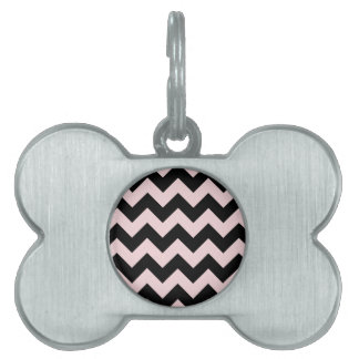 Zigzag I - Black and Pale Pink Pet Name Tags