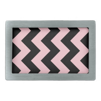 Zigzag I - Black and Pink Rectangular Belt Buckle