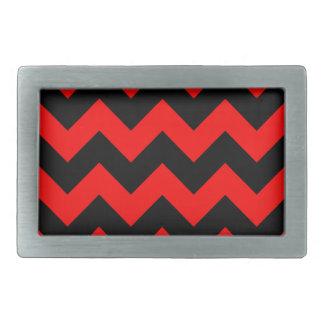 Zigzag I - Black and Red Rectangular Belt Buckles