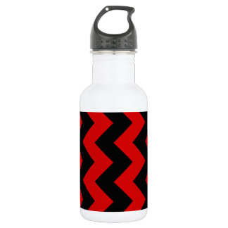 Zigzag I - Black and Rosso Corsa Water Bottle