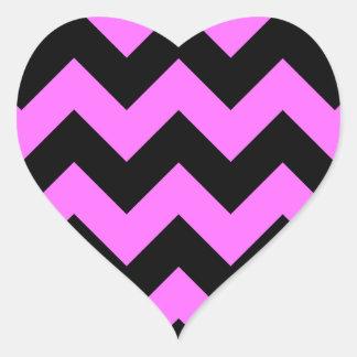Zigzag I - Black and Ultra Pink Heart Sticker