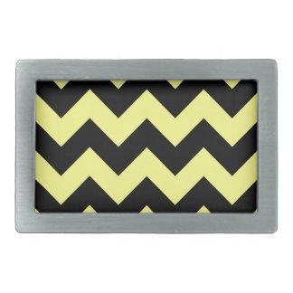 Zigzag I - Black and Yellow Rectangular Belt Buckles