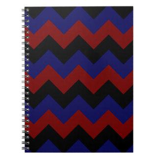 Zigzag I - Black Dark Red and Dark Blue Spiral Note Books