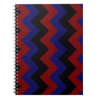 Zigzag I - Black Dark Red and Dark Blue Spiral Notebook