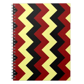 Zigzag I - Black Dark Red and Yellow Note Book