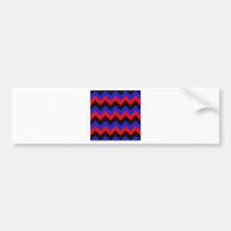 Zigzag I - Black, Red and Blue Bumper Sticker