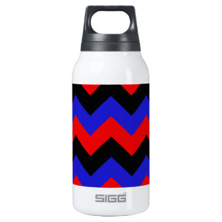 Zigzag I - Black, Red and Blue Insulated Water Bottle