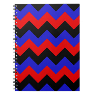 Zigzag I - Black Red and Blue Spiral Notebooks