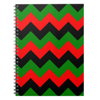 Zigzag I - Black Red and Green Spiral Notebook