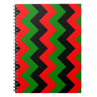 Zigzag I - Black Red and Green Spiral Notebooks