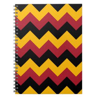 Zigzag I - Black Red and Orange Spiral Notebook