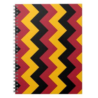 Zigzag I - Black Red and Orange Spiral Note Books