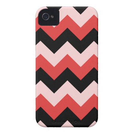 Zigzag I - Black, Red and Pink iPhone 4 Cases