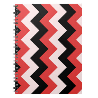 Zigzag I - Black Red and Pink Spiral Notebooks