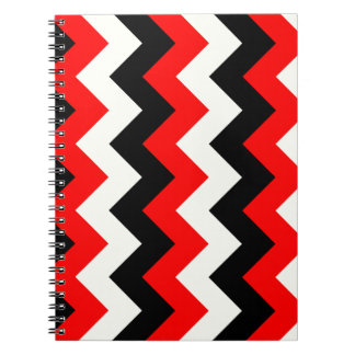 Zigzag I - Black Red and Yellow Spiral Notebook