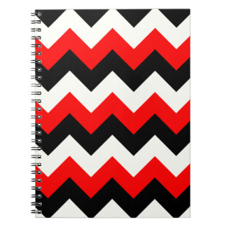 Zigzag I - Black Red and Yellow Spiral Note Book
