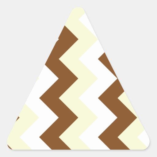 Zigzag I - Blanco, amarillo y Brown Pegatina Triangulo Personalizadas