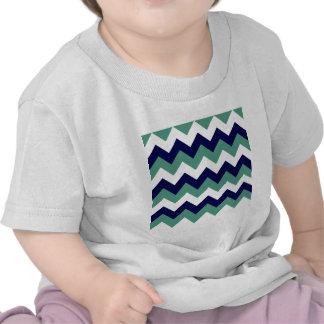 Zigzag I - Blanco, azul marino y verde claro Camisetas
