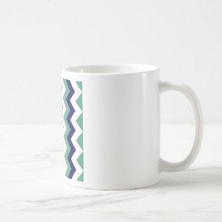 Zigzag I - Blanco, azul marino y verde claro Taza Clásica