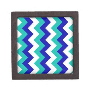 Zigzag I - Blanco, azul y verde Caja De Joyas De Calidad