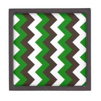 Zigzag I - Blanco, Brown y verde Caja De Recuerdo De Calidad