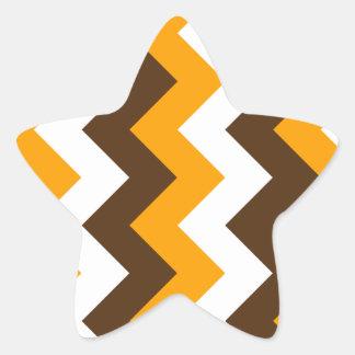 Zigzag I - Blanco, naranja y Brown Pegatina En Forma De Estrella