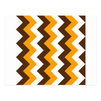 Zigzag I - Blanco, naranja y Brown Tarjetas Postales