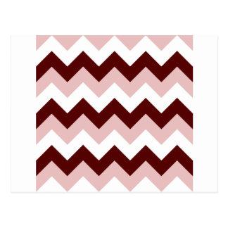 Zigzag I - Blanco, rojo oscuro y rosado Postal