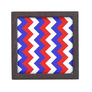 Zigzag I - Blanco, rojo y azul Caja De Joyas De Calidad
