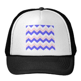 Zigzag I - Blanco, rosa y azul Gorros Bordados