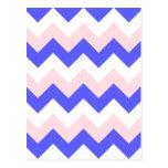 Zigzag I - Blanco, rosa y azul Postal