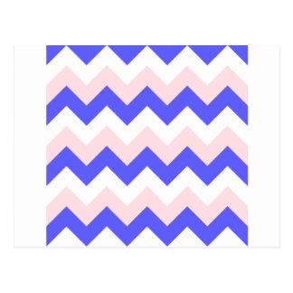Zigzag I - Blanco, rosa y azul Tarjeta Postal