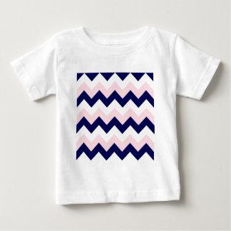 Zigzag I - Blanco, rosado y azul marino Playera Para Bebé