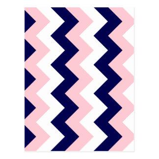 Zigzag I - Blanco, rosado y azul marino Tarjeta Postal