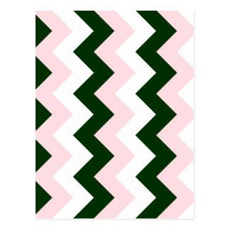 Zigzag I - Blanco, rosado y verde oscuro Tarjetas Postales