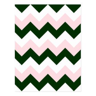 Zigzag I - Blanco, rosado y verde oscuro Postal