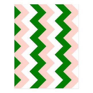 Zigzag I - Blanco, rosado y verde Postal