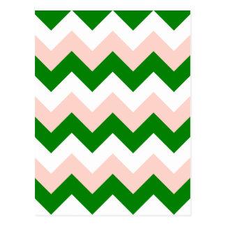 Zigzag I - Blanco, rosado y verde Tarjeta Postal