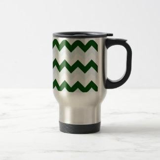 Zigzag I - Blanco, verde oscuro y azul claro Taza Térmica