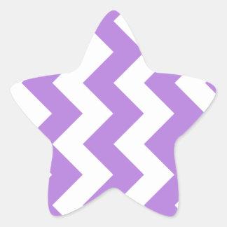 Zigzag I - Blanco y lavanda Pegatina En Forma De Estrella