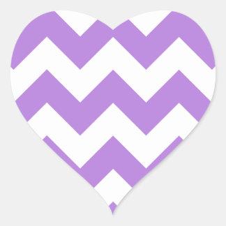 Zigzag I - Blanco y lavanda Pegatina En Forma De Corazón