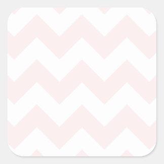 Zigzag I - Blanco y pálido - rosa Pegatina Cuadrada