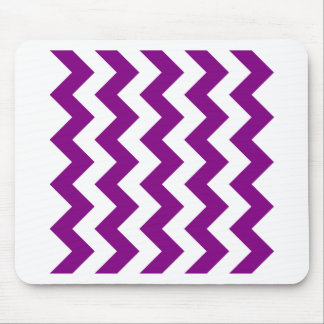 Zigzag I - Blanco y púrpura Tapetes De Ratón