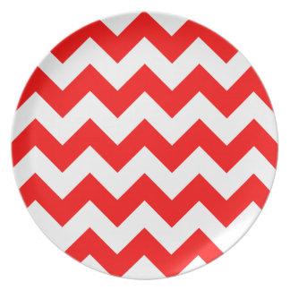 Zigzag I - Blanco y rojo Platos De Comidas