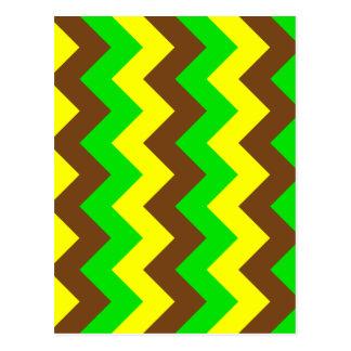 Zigzag I - Brown, verde claro, amarillo Postales