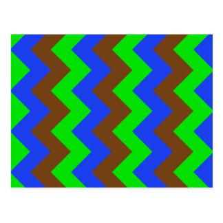Zigzag I - Brown, verde claro, azul Postales