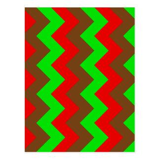 Zigzag I - Brown, verde claro, rojo Tarjetas Postales